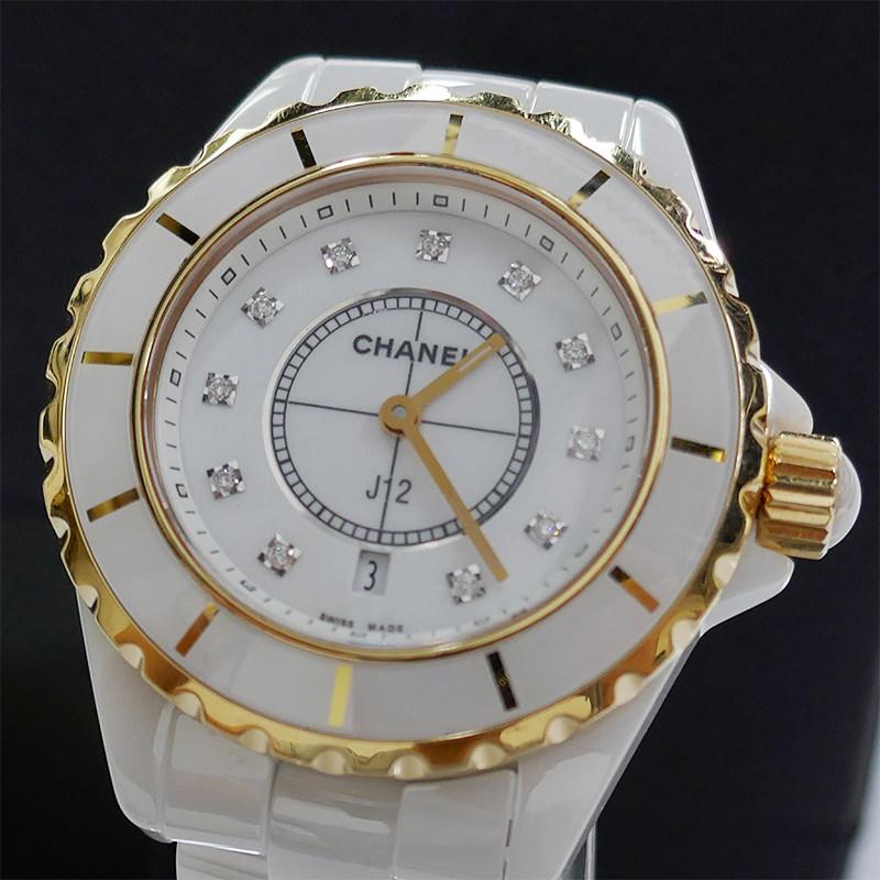シャネル J12 H2181 ホワイトセラミック 33ミリ 11Pダイヤモンド ピンクゴールドベセル クオーツ