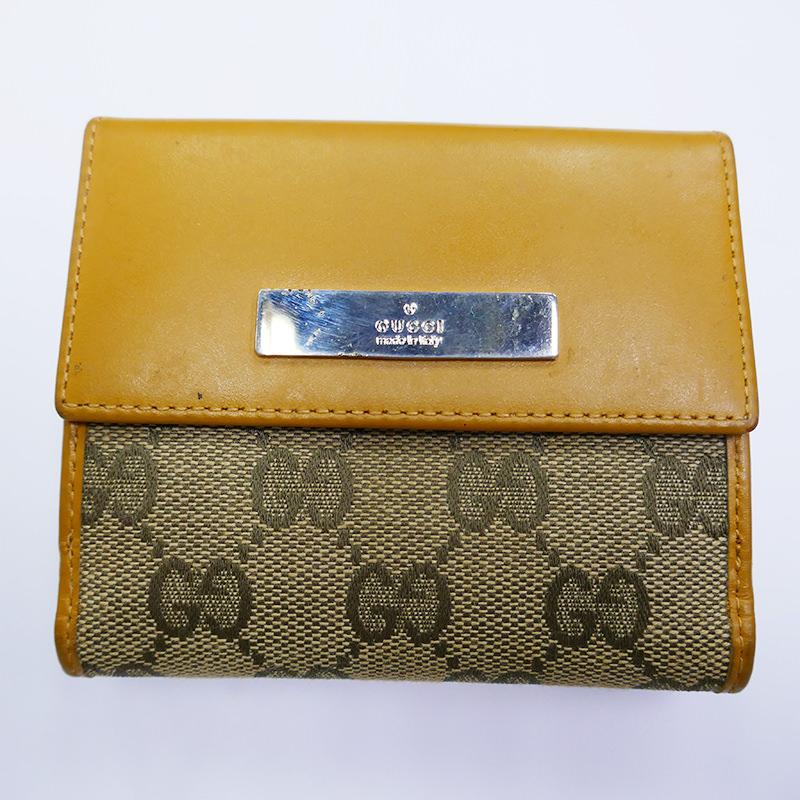 【GUCCI】グッチ  財布 二つ折り Wホック GG キャンバス レザー 両面開き 財布