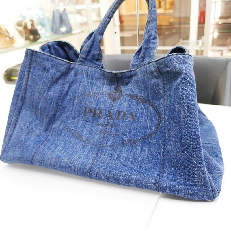 【PRADA】プラダ B1872B カナパトート バッグ デニム ブルー