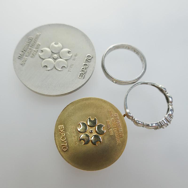 K18万博記念メダル シルバー925メダル Pt900リング